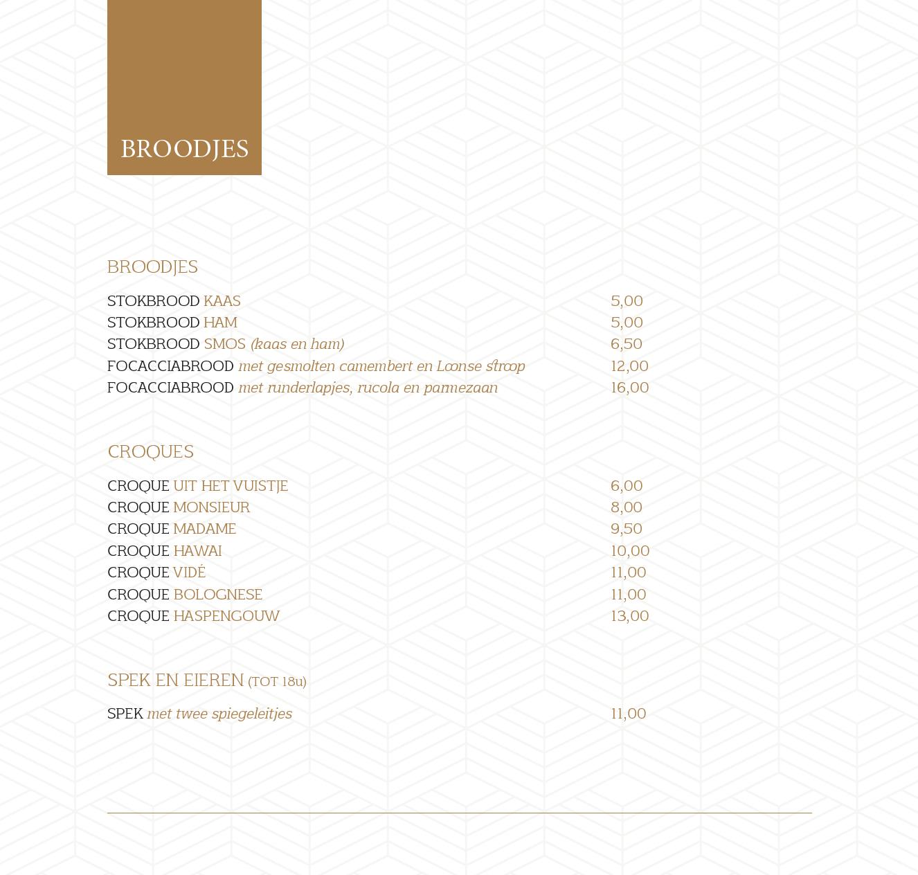 menukaart 18