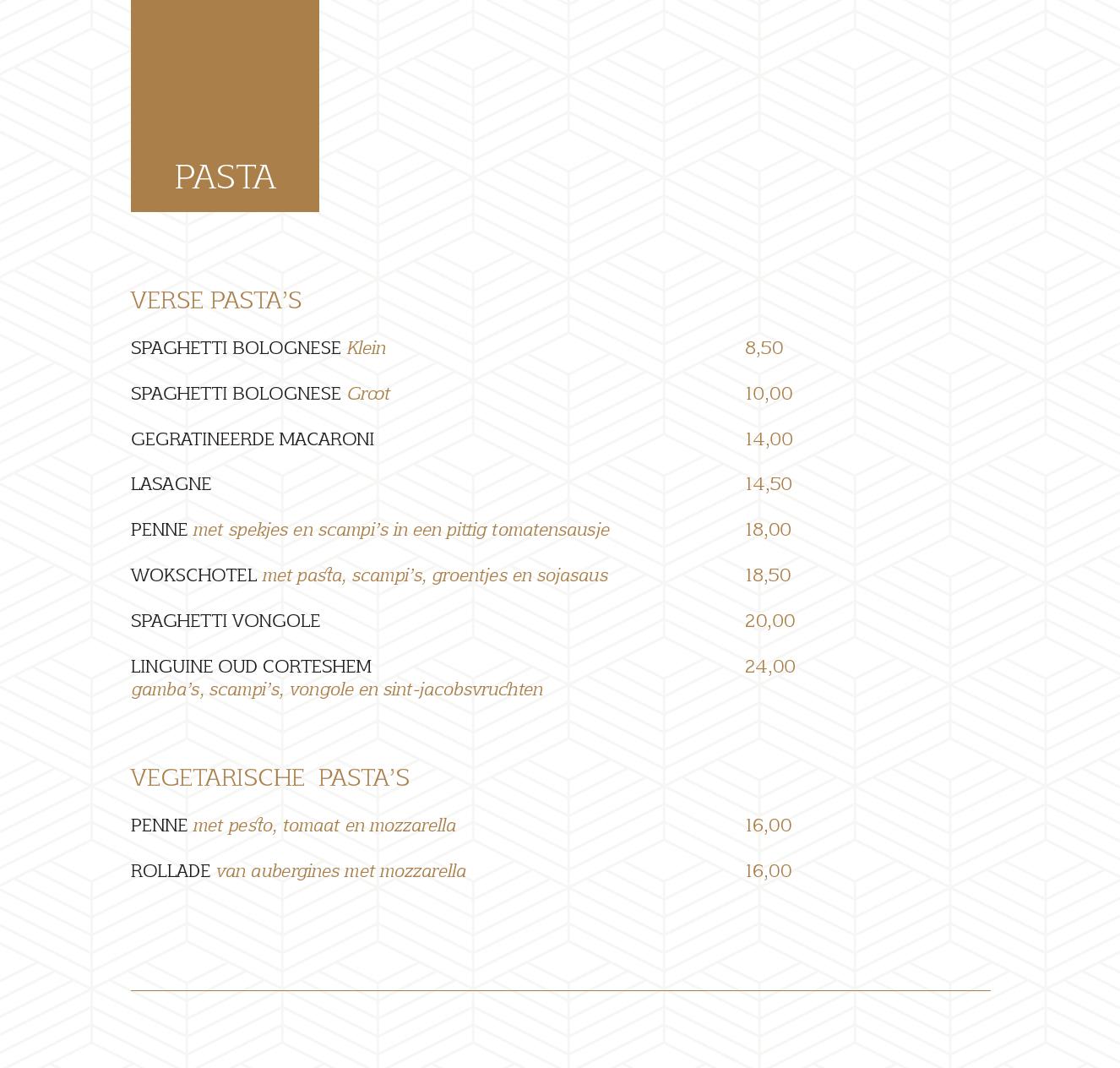 menukaart 21