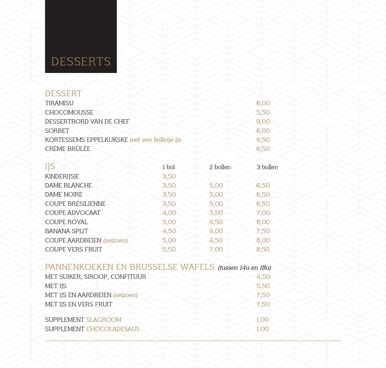menukaart 25